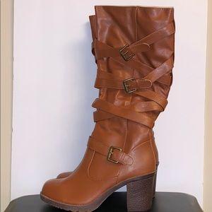 Kalli BelowKnee Brown Leather Strappy Heeled Boots